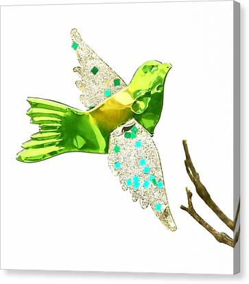 Green Bird Ornament Canvas Print by Art Block Collections