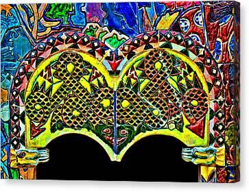 Green Ceramic Dragon. Fragment. Canvas Print by Andy Za