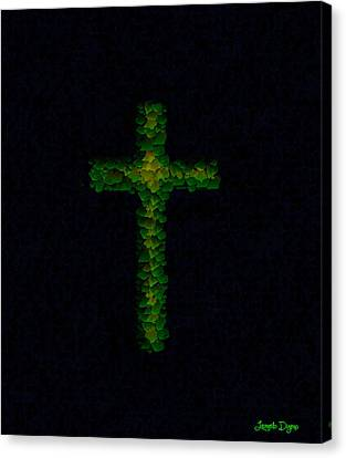 Green Cross - Palette Knife Style - Pa Canvas Print by Leonardo Digenio