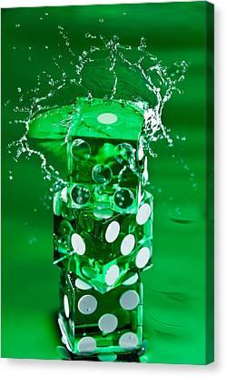 Green Dice Splash Canvas Print by Steve Gadomski