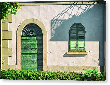 Green Door And Window Canvas Print by Silvia Ganora