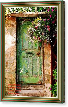 Green Door On Dorian Street H A With Decorative Ornate Printed Frame. Canvas Print by Gert J Rheeders