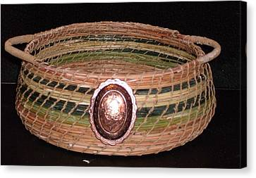 Green Dyed And Natural Pine Needle Basket Canvas Print by Russell  Barton