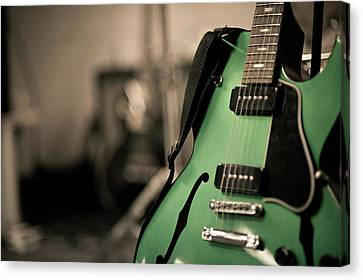 Green Electric Guitar With Blurry Background Canvas Print by Sean Molin - www.seanmolin.com