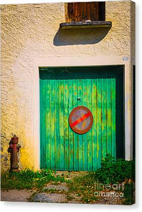 Green Garage Door Canvas Print by Silvia Ganora