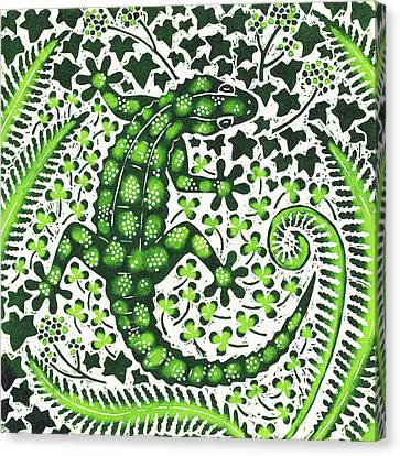 Green Gecko Canvas Print by Nat Morley