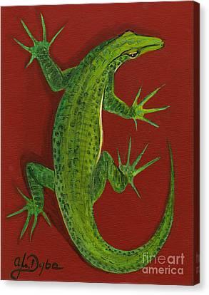 Green Lizard Canvas Print by Anna Folkartanna Maciejewska-Dyba