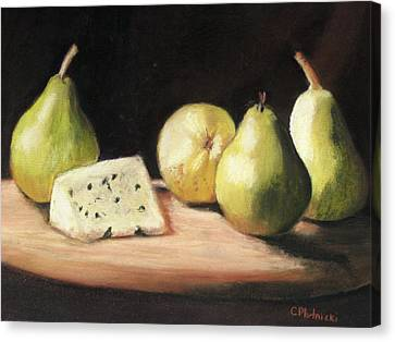 Green Pears With Cheese Canvas Print by Cindy Plutnicki