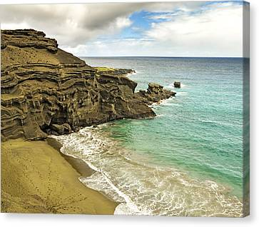 Green Sand Beach On Hawaii Canvas Print by Brendan Reals