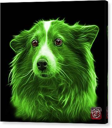 Green Shetland Sheepdog Dog Art 9973 - Bb Canvas Print by James Ahn
