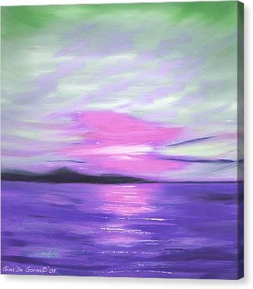 Green Skies And Purple Seas Sunset Canvas Print by Gina De Gorna
