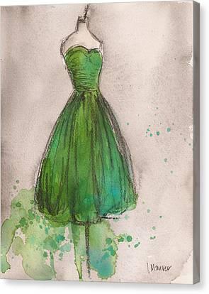 Green Strapless Dress Canvas Print by Lauren Maurer