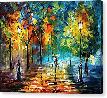 Green Tree - Palette Knife Oil Painting On Canvas By Leonid Afremov Canvas Print by Leonid Afremov