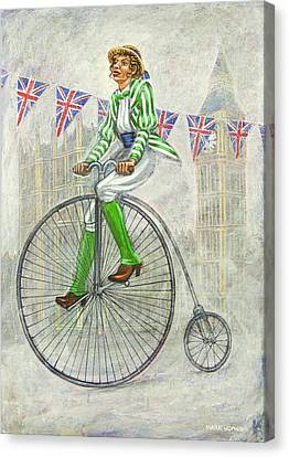 Tweed Run Lady In Green Pedalling Past The Houses Of Parliament Canvas Print by Mark Howard Jones
