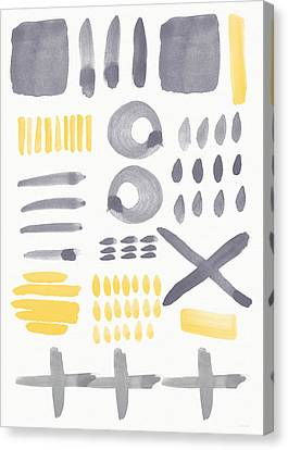 Grey And Yellow Shapes- Abstract Painting Canvas Print by Linda Woods
