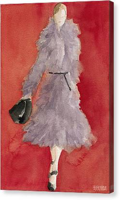 Grey Coat - Watercolor Fashion Illustration Canvas Print by Beverly Brown Prints