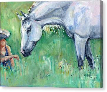 Grey Horse And Cowgirl Canvas Print by Maria's Watercolor