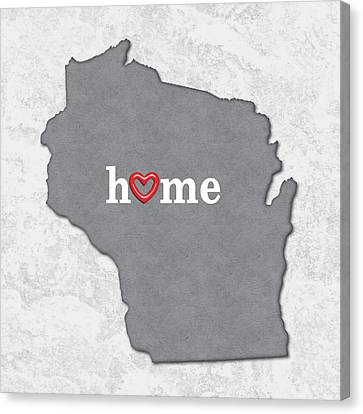 State Map Outline Wisconsin With Heart In Home Canvas Print by Elaine Plesser
