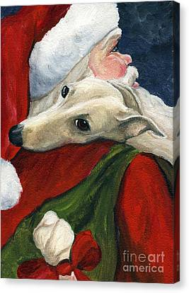 Greyhound And Santa Canvas Print by Charlotte Yealey