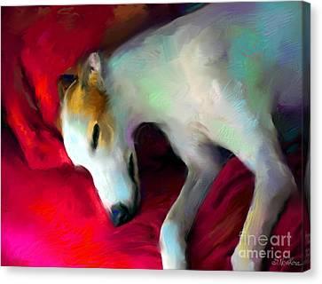 Greyhound Dog Portrait  Canvas Print by Svetlana Novikova