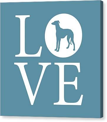 Greyhound Love Canvas Print by Nancy Ingersoll