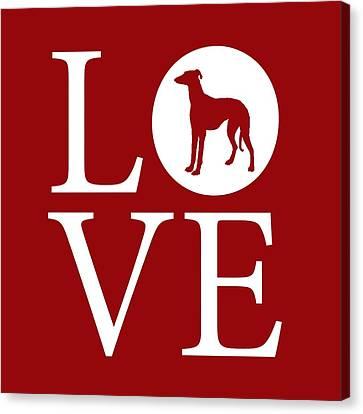 Greyhound Love Red Canvas Print by Nancy Ingersoll