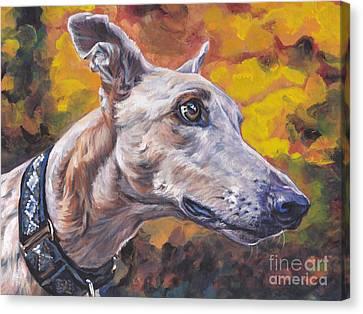 Greyhound Portrait Canvas Print by Lee Ann Shepard