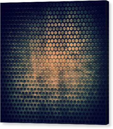 Grill Metal Hole On Grunge Texture Background Canvas Print by Natthawat Jamnapa