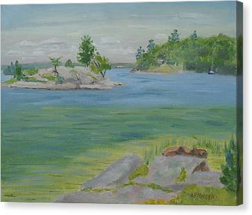 Grindstone Island Rusho Bay St Lawrence River Canvas Print by Robert P Hedden