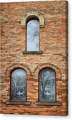 Grisaille Windows - First Congregational Church - Jackson - Michigan Canvas Print by Nikolyn McDonBell Tower - First Congregational Chuald