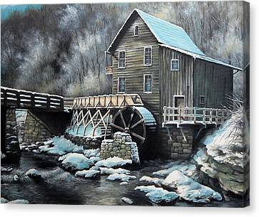 Grist Mill Canvas Print by Mike Worthen