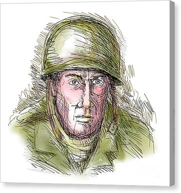 Gritty World War Two Soldier Canvas Print by Aloysius Patrimonio