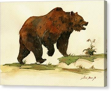 Grizzly Bear Art Canvas Print by Juan  Bosco