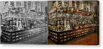 Grocery - Edward Neumann - The Groceries 1905 Side By Side Canvas Print by Mike Savad