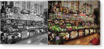Grocery - Edward Neumann - The Produce Section 1905 Side By Side Canvas Print by Mike Savad