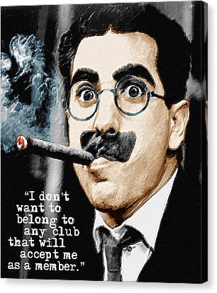Groucho Marx And Quote Vertical  Canvas Print by Tony Rubino