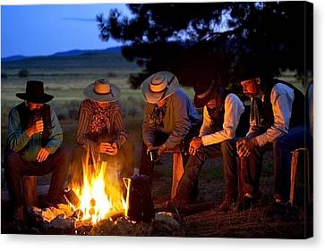 Group Of Cowboys Around A Campfire Canvas Print by Richard Wear
