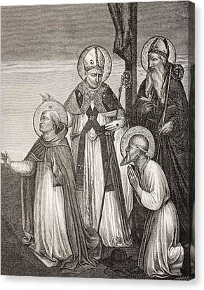 Group Of Saints. Detail Of The Passion Canvas Print by Vintage Design Pics