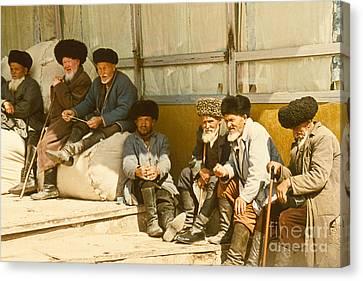 Group Of Uzbek Retirees Canvas Print by Heiko Koehrer-Wagner