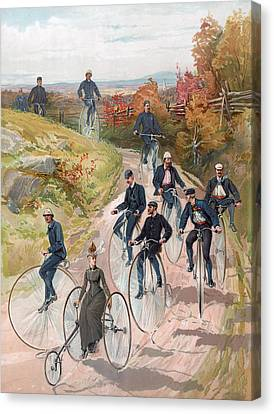Group Riding Penny Farthing Bicycles Canvas Print by American School