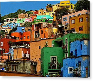 Guanajuato Hillside 1 Canvas Print by Mexicolors Art Photography
