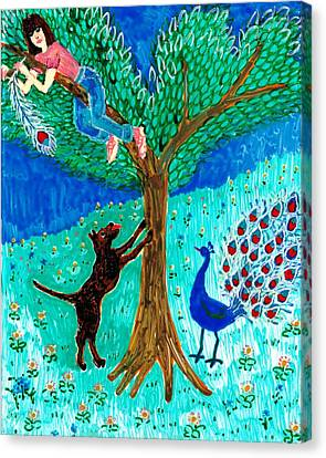 Guard Dog And Guard Peacock  Canvas Print by Sushila Burgess