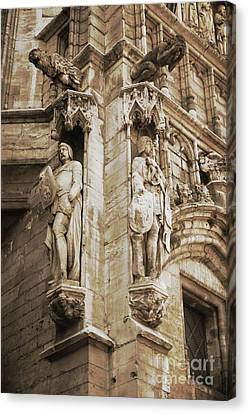 Guarding The Grand Place In Sepia Canvas Print by Carol Groenen