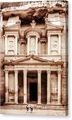 Guarding The Petra Treasury Canvas Print by Nicola Nobile