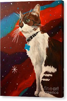 Guenhwyvar The Cat In Space Canvas Print by Ashley Baldwin