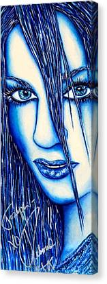 Guess U Like Me In Blue Canvas Print by Joseph Lawrence Vasile