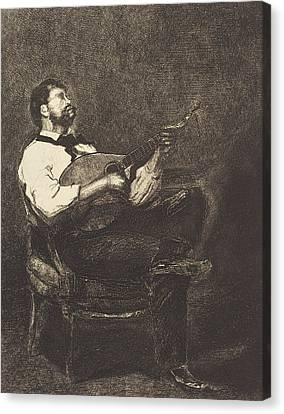 Guitar Player Canvas Print by Francois Bonvin