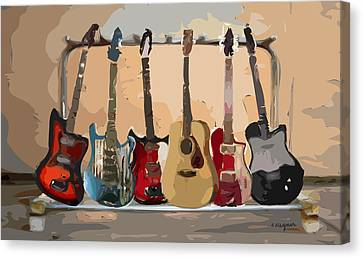 Guitars On A Rack Canvas Print by Arline Wagner