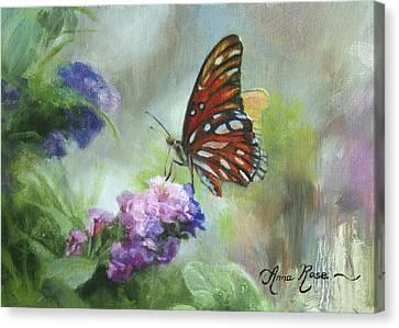 Gulf Fritillary Canvas Print by Anna Rose Bain