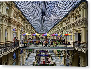 Gum Department Store Interior - Red Square - Moscow Canvas Print by Jon Berghoff